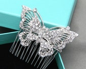 "2.5"" Butterfly Gold Silver Tone Wedding Bridal Rhinestone Crystal Headdress Hair Comb Headpiece BRH00112"