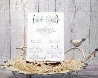 """Modern Wedding Ceremony Program – Vintage Wedding Program – Vintage Program – Custom Mint and Peach Program – """"Modern Vintage"""" Deposit"""