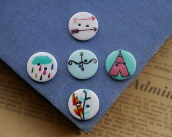 10pcs Assorted Feather Arrowhead Teepee Bow and Arrow Buttons 20mm (WB2310)
