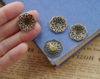 30 pcs Small Bronze Round Filigree Setting Base Brooch Cab Setting Wrap Connector Pendant (BFC2365)