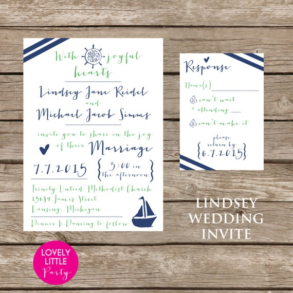 Lindsey Playful Nautical Collection Invitation Set for weddings and special events - Lovely Little Party - You choose colors