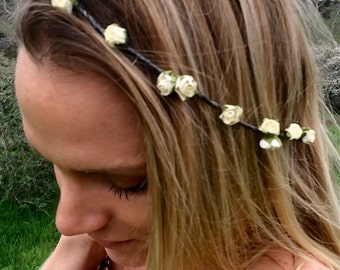 Dainty Flower crown, flower headband, rose rown, coachella crown, festival flower crown, bridal crown,  wedding crown
