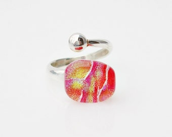Red Glass Adjustable Ring Dichroic Glass Ring Fused Glass Jewelry Silver Ring Dichroic Jewelry