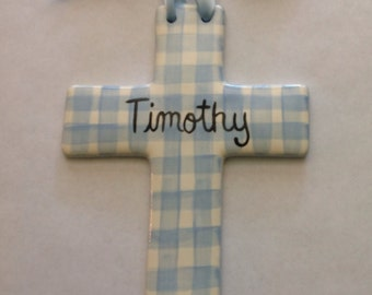 Personalized hand painted Baptism Christening Plaid Cross Baby gift