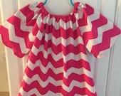 Handmade...Pink Chevron Childrens Peasant Dress...Handmade Clothing...Childrens Clothing...Baby Clothing...Peasant Dresses