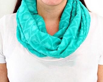 Aqua Turquoise Geometric Pattern Textured Infinity Scarf