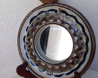"""Vintage ceramic Evangel Pottery of NM mirror leather hook browns pottery 7.5"""""""
