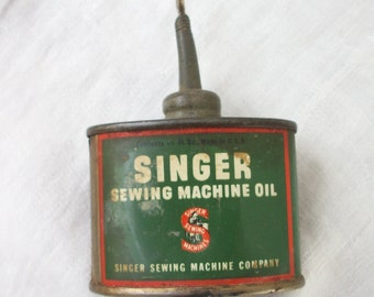 Little Oval Old Singer Sewing Machine Oil Can ~ Vintage 1  1/3 OZ. size U.S.A