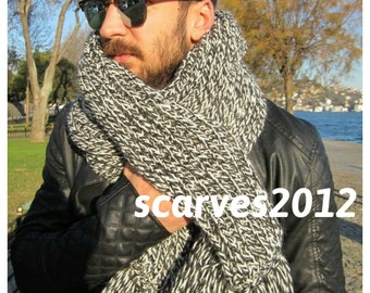 Men's Knitted scarves-Mens long scarf,black white gray rib knit scarves,woman-man fashion,man fashion-Winter acessories Turkish scarves2012