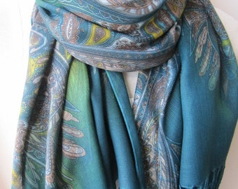 Paisley printed scarf-green red beige paisley shawl scarf-Long scarf -hijab-shawl-Women's scarves - Turkey Spring Fall FASHION - scarves2012