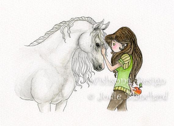 """Horse Girl Painting, whimsical art, girls room decor, horse art, horse decor """" Best Friends """" archival fine art print"""