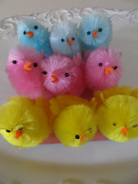 Fuzzy Chicks Chenille 9 Pinkblueyellow2 Easter