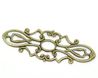 10pc Antique Bronze Filigree Wrap Connector - 38x15mm - Jewelry Finding, Jewelry Making Supplies, Necklace, DIY, Ships from USA - C24