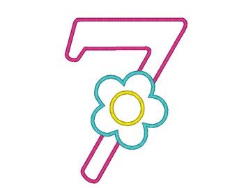 INSTANT DOWNLOAD Flower Number Seven Birthday Machine Embroidery Digital Applique Design