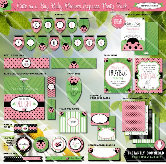 Ladybug baby shower theme decorations printable party pack for Baby shower decoration packs