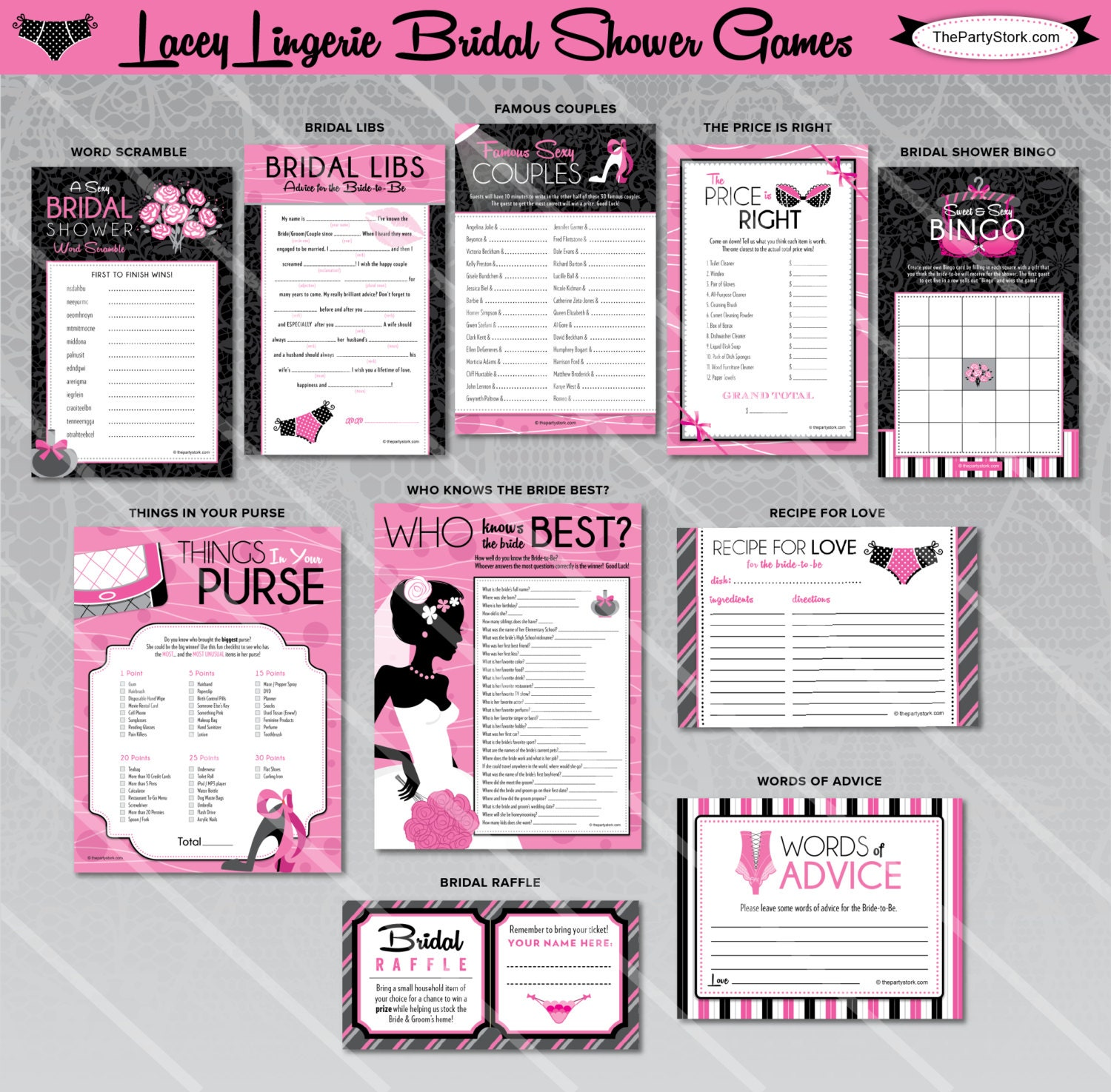 Lingerie Bridal Shower Games Printable Wedding By