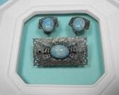 Blue Art Glass Jewelry Set, Elegant Vintage, Feminine Classic