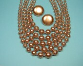 Vintage Jewelry Set, Gorgeous Gold Bead Five Strand Necklace, Clip On Earrings, , Classic