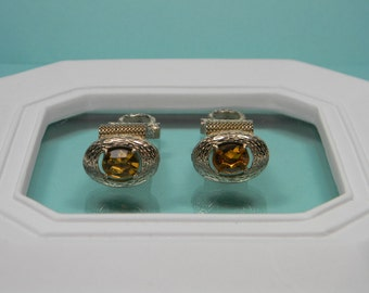 70s Gold Tone Oval Cuff Links, Mesh, Amber Glass Stone