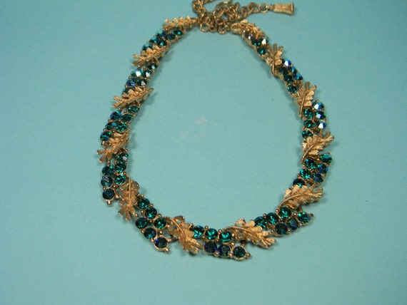 BSK Green Blue Necklace, Rhinestones, Aurora Borealis, Vintage Classic