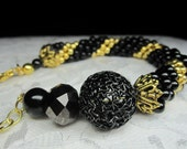Black Onyx and Gold Bead Spiral Beaded Bracelet