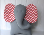 elephant pillow, coral and grey nursery decor, chevron elephant pillow, baby shower gift, coral nursery pillow