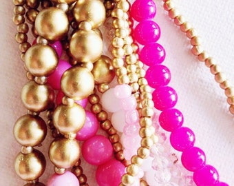 White pink and gold twelve strands summer necklace
