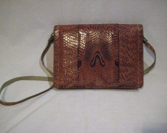 Vintage Snake Skin Cobra Clutch Purse Envelope Clutch Crossbody
