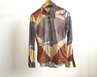 vintage 70s aeroplane SHEER big collar blouse