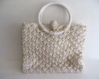 Vintage 50s 60s handbag purse, summer off white, straw basketweave woven raffia, Babette
