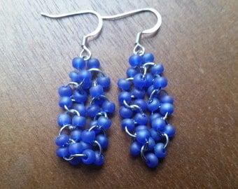 Blue Matte Seed Bead Dangle Earrings