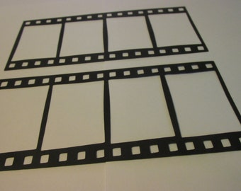 10 large paper Filmstrips,  filmstrip negative frame die cuts, film silhouettes, wall decoration
