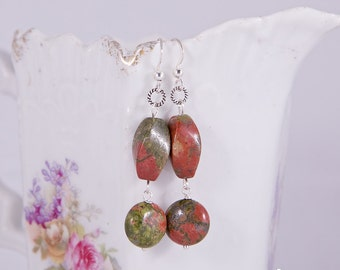 Earrings with beautiful green and red imperial jasper gemstones and sterling silver, modern twist stone earrings, autumn forest colors