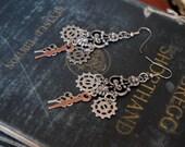 Steampunk Jewelry, Chandelier Earrings, Steampunk Filigree Earrings, Gear Earrings, Victorian Jewelry, Victorian Earrings Handmade Steampunk