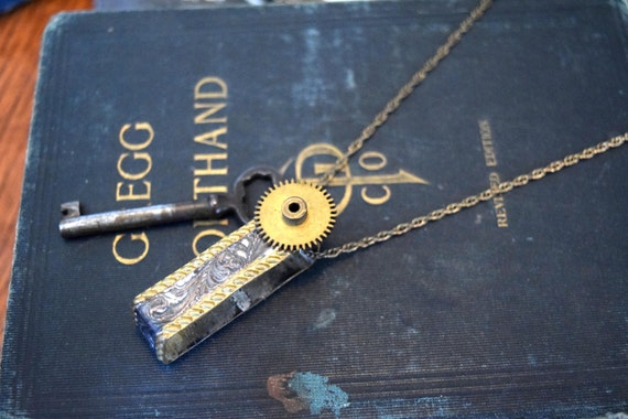 Steampunk Jewelry  - Silver and Gold Belt Loop with Skeleton Key and Gear - Unisex Jewelry - Mens Necklace - Steampunk Necklace - Upcycled