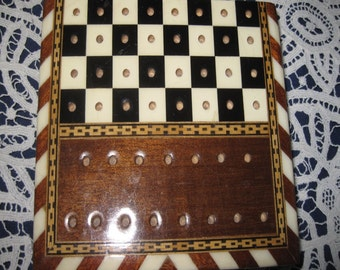 chessboard miniature inlay tree bone bronze lack length 12 cm width 10 cm good condition