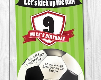 Soccer birthday invitation cards for soccer kids