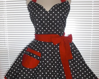 Sweetheart Retro Diner Apron White Dots On Black Red Accents Circular Flirty Skirt