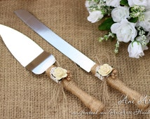 Wedding Cake Server and Knife Rustic Wedding Cake Serving Set Wedding Cake Cutting Set Cake Cutter Set