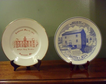 Lot of 2 Historic 1970s Plates Gaston' s Mill and Washington County Courthouse  Vintage Decorator Plates