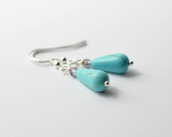 Turquoise Tear Drops Dangle Earrings, Turquoise Dangle
