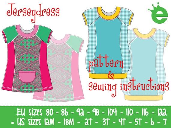 Jersey Knit Sewing Patterns : pdf e-book and sewing pattern: Jersey knit dress // Euro sizes