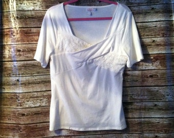 Womens altered off white lace criss cross upcycled short sleeve redesigned top L/XL