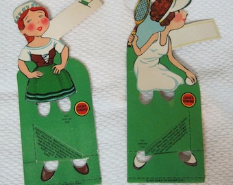 Pair Vintage Bridge Tally Card Cards Lucky Strike Cigarette Women Figural