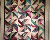 Multicolor Pinwheel Batik Quilt, Wall Hanging, Lap Quilt, Throw Blanket