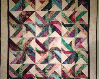 Multicolor Pinwheel Batik Quilt, Wall Hanging, Lap Quilt, Throw Blanket