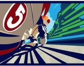 Full Throttle Motor Bike Poster / Illustration / Print 11 X17