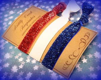 Glitter Elastic Hair Ties/ Red White & Blue Glitter Hair Ties/No-Crease Hair Tie/Set of 3 Hair Ties/ FOE Hair Ties / Ponytail Holder/Yoga