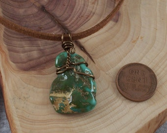Natural Paradise Turquoise Pendant on Suede Cord
