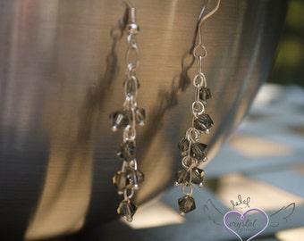 Gray Swarovski Crystal Dangle Earrings